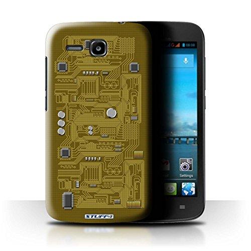 Stuff4 Hülle / Hülle für Huawei Ascend Y600 / Gelb Muster / Leiterplatte Kollektion