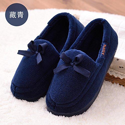 DogHaccd pantofole,La femmina di inverno con fondo piatto unico di sovrascarpe piede pigro ossa scarpe scarpe invernali più spessi di cotone studentesse scarpe Blu scuro3