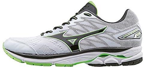 Mizuno Wave Rider 20, Chaussures de Running Entrainement Homme, Blanc (White/Black/Green Gecko), 40.5 EU