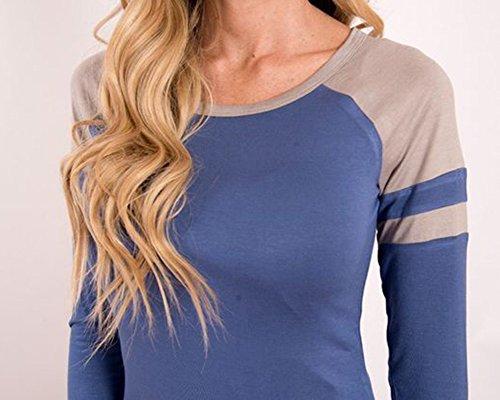 Femme O-Cou Manche Longue Collure T-Shirt Dans La Longue Section Mince Tops Bleu