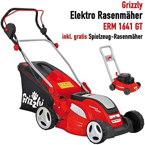 Grizzly Elektro Rasenmäher ERM 1641 GT mit Stahlgehäuse - 1600 W Turbo Power Motor, 41 cm Schnittbreite, Mulchfunktion – Inkl. Kinder Rasenmäher