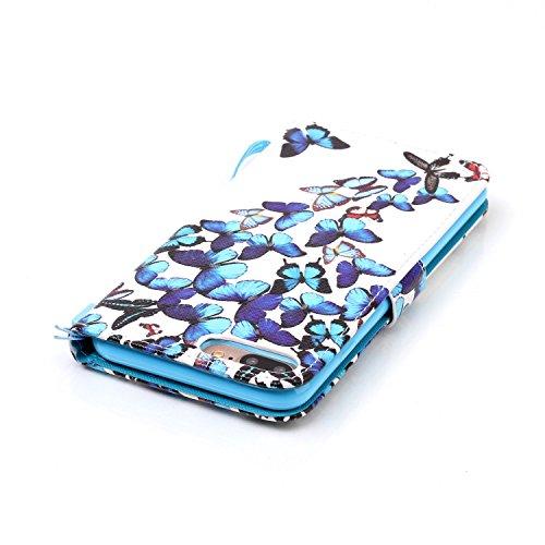 """Für iPhone 7 Plus 5.5"""" Gurt Lederhülle Schutzhülle,Für iPhone 7 Plus 5.5"""" Seil Lanyard Full Body Schutz Tasche Case,Funyye Stilvoll Mode [Bunt Bedruckt] Flip Wallet Case Slim PU Leder Cover Tasche Han Blaue Schmetterlinge"""