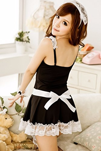 FOREVER-YUNG-Womens-Sexy-Housemaid-Cosplay-Seductive-Gauzy-Adult-Lingerie-Dress-for-Sex-One-Size-Black