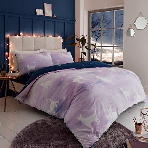 Artistic Fashionista * Bettwäsche-Set mit Kissenbezügen, luxuriöse Qualität und modernes Design mit Katzen-Motiv, Doppelbett