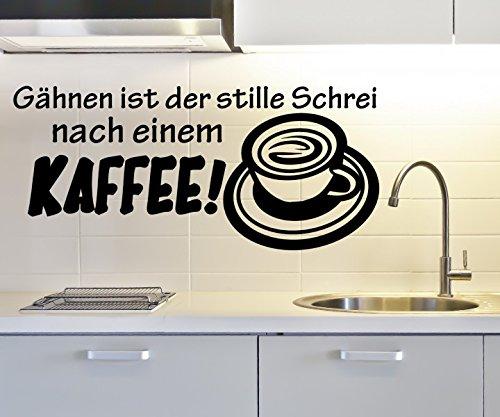 Wandtattoo Gähnen ist Schrei nach Kaffee Coffee Spruch Cafe Aufkleber Küche Wohnzimmer Bohnen Tasse 1D355, Farbe:Königsblau Matt;Breite vom Motiv:140cm