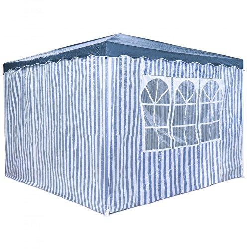 PRIMOPET Partyzelt 3 x 3 m Festzelt Gartenzelt Bierzelt Pavillon Gartenpavillon mit 4 Seitenwänden Blau gestreift