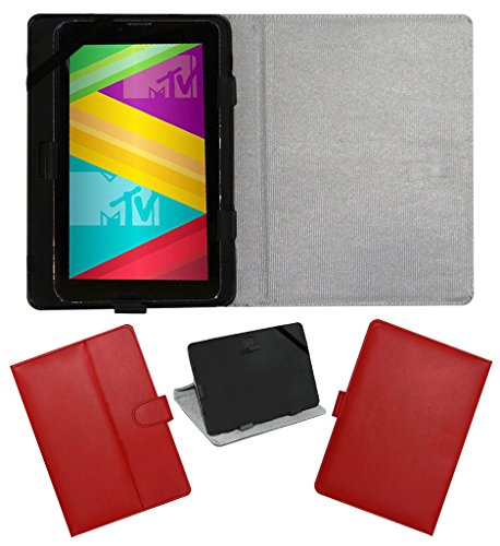ACM LEATHER FLIP FLAP TABLET HOLDER CARRY CASE STAND COVER FOR SWIPE MTV SLASH 4X RED  available at amazon for Rs.199