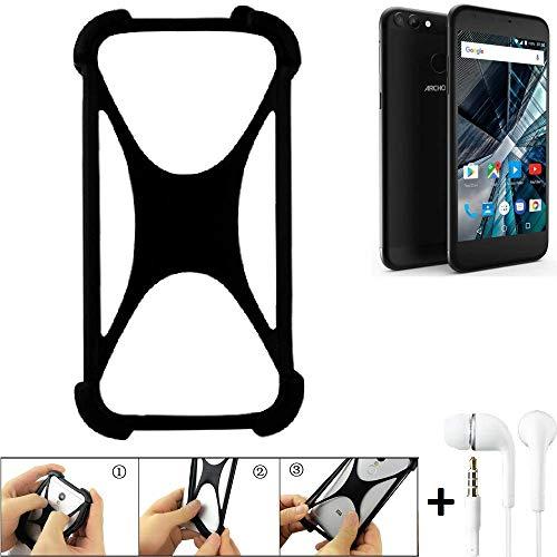 K-S-Trade Handyhülle für Archos 55 Graphite Schutzhülle Bumper Silikon Schutz Hülle Cover Case Silikoncase Silikonbumper TPU Softcase Smartphone, schwarz (1x), Headphones