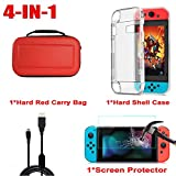 XiuFen Portable Accessory Case Bag+Shell Cover+Charging Cable+Protector for Nintend Switch red