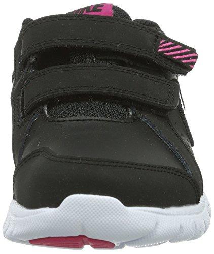 Nike Flex Experience Leather 631466 Mädchen Laufschuhe Training Schwarz (Black/Vivid Pink-White)