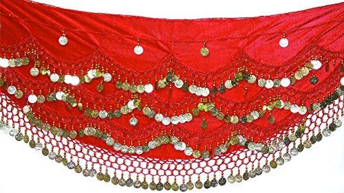 VELVET NOISY Bauchtanz Kostüm Gürtel Münzen Gürtel Größe UK 18-24 3XL PLUS GRÖSSE (Red (70's Uk Plus Kostüme Size)