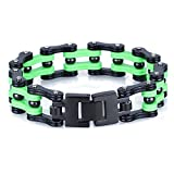 Yorwell Edelstahl Herren-Armband Armbänder Schwere Biker Metall Link Armreif Zwei Töne Schwarz Grün mit Geschenkschachtel