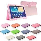 Design Tab3 10.1 Standtasche für SAMSUNG GALAXY TAB 3 P5200 P5210 P5220 Hülle Etui Tasche Case ULTRASLIM (Rosa)