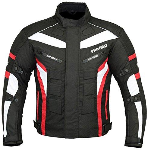 Herren Jacke Motorrad-rüstung (Wasserdicht Motorrad Motorrad Moped Herren Jacke mit CE zugelassenen Rüstung & dicke abnehmbare Futter - für alle Wetter - 6 Packs Design Am beliebtesten (Schwarz & Rot / Black & Red, 3X-Large))