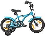 PROMETHEUS Kinderfahrrad 14 Zoll Jungen in Blau & Schwarz mit Stützrädern | Seitenzugbremse und Rücktrittbremse | ab 4 Jahren | 14