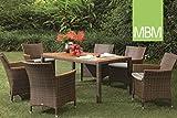 MBM Hochwertige Mirotex-Twist Resysta Sitzgruppe Panda 6-Personen/Gartentisch/Terrassentisch/Outdoor