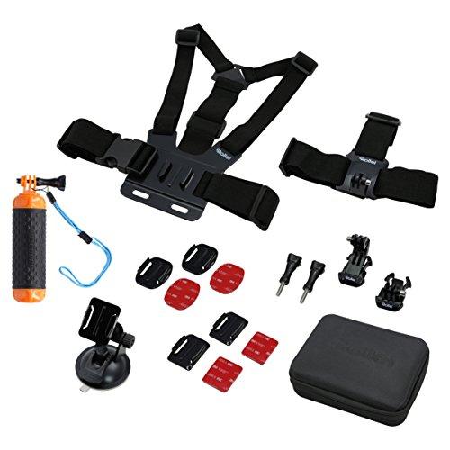 Rollei Actioncam Zubehör Set Sport L - 17-teiliges Zubehör Set, inkl. Brustgurt, Kopfband und Tasche, kompatibel mit allen Rollei und GoPro Actioncams