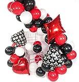 PuTwo Casino Party Luftballons, 54 Stück 12 Zoll Rote Ballons Luftballons Schwarz Luftballons Weiß und 20 Zoll Folienballons, Helium Luftballons für Casino Party, Vegas Party, Deko Schwarz Weiß Rot