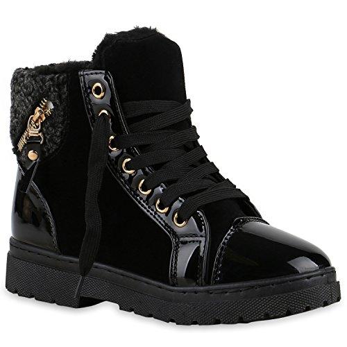 Damen Schuhe Outdoor Boots Schwarz Gold