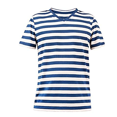 Charm - T-shirt - Col V - Homme Navy And White Stripe - - Large