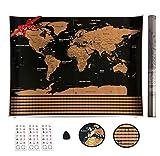 MapOne Carte du Monde à gratter XXL [ Edition Premium 2019 ] avec Drapeaux de Tous Les Pays- Map Scratch - Doré/Noir 83 x 59 cm - Cadeau Ideal pour Les Voyageurs - Accessoires + Tube Cadeau en Bonus