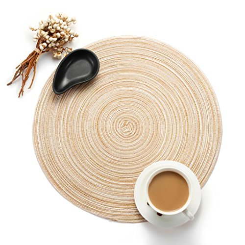 TAOtTAO Runder Kreis Tischsets Tisch Tischsets Küchentischwärmekissen 35cm (Beige) -