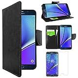 ebestStar - Etui Samsung Galaxy Note5 SM-N920F Note 5 - Housse Coque Etui Portefeuille Support PU Cuir + Film protection écran en VERRE Trempé, Couleur Noir [Dimensions PRECISES de votre appareil : 153.2 x 76.1 x 7.6 mm, écran 5.7''] [Note Importante Lire Description]