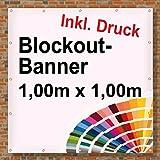 Premium Banner 900g/m² | Werbebanner / Werbeplane | 1m x 1m | blickdicht | inklusive Ösen | brillanter Druck - besonders stabil - wetterfest | einseitig mit Ihrem Motiv bedruckt
