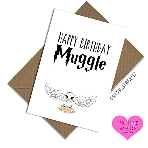 Image of Happy Birthday muggle A5 card Harry Potter themed fan card