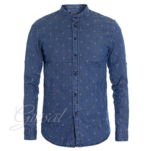 Giosal camicia uomo jeans denim fantasia micro ancore collo coreano c1310a-xxl