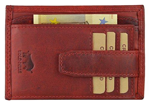 Solo Pelle Vintage Geldbörse aus echtem Leder Model: 5086 Slimfit (Vintage Rot mit Kleingeldfach)
