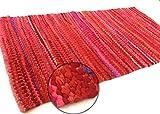 Second Nature ONLINE handgewebt Baumwolle 90cm x 150cm Chindi Teppiche–4Farben erhältlich, baumwolle, rot, 90 x 150 cm