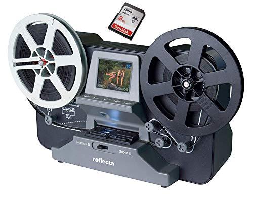 SUPER 8 - NORMAL 8 Scanner MIETEN 1 Woche, Reflecta Super 8 Filmscanner, Super 8 Filme digitalisieren (max. Spulendurchmesser 12,7cm), inkl. SD-Karte & Erklärungsvideo