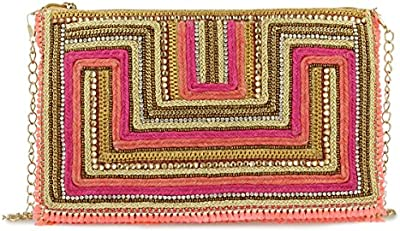 Bolso pedreria bordado tonos rosas con cadena dorada. 29x19 cm.
