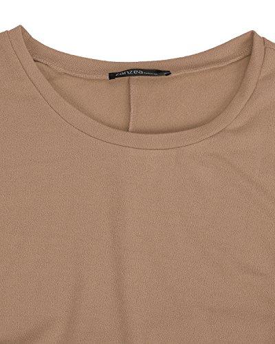 ZANZEA Femme Casual Lâche Automne Irrégulier Manches Chauve-souris Longue Pull-over Shirt Marron