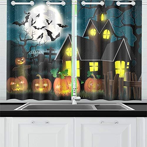 JOCHUAN Happy Halloween Poster Küche Vorhänge Fenster Vorhang Stufen für Café Bad Wäscherei Wohnzimmer Schlafzimmer 26 * 39 Zoll 2 Stück