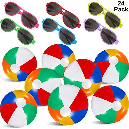 Blulu 24 Stücke Sommer Party Gefälligkeiten Set, 12 Packung Aufblasbare Strandbälle - 12 Stücke Neon Sonnenbrille Strand und Schwimmbad Party Gefälligkeiten Sommer Wasserspielzeug im Freien