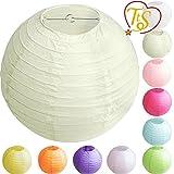 TtS 30cm Lampion Papier Lanterne Boule Lampion Abat-jour Armature Métallique Décoration Mariage Maison Fête(lanterne-Ivoire)
