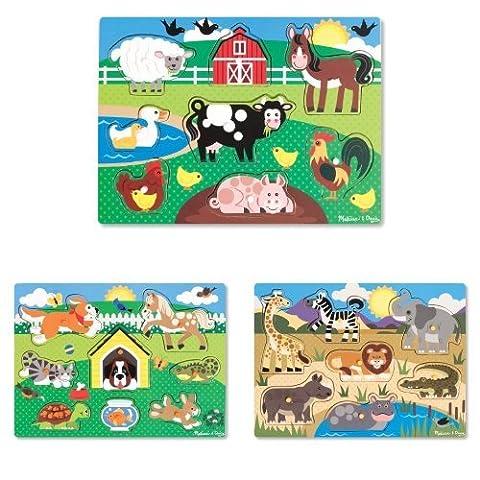 Melissa & Doug Farm Animals, Pets and Safari Wooden Peg Puzzle Set Bundle