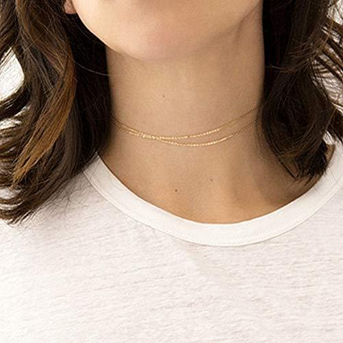 ssische Edelstahl Kette Halsketten Für Frauen Vintage Gold-Farbe Doppelschichten Metall Choker Neclaces Geschenk Für Weibliche ()