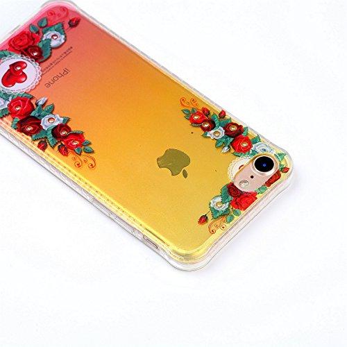 iPhone 7 Custodia Diamante Bling,iPhone 7 Cover in Silicone,Etsue 2017 Neo Disegni Donna Ragazza Cristallo Bling Scintillante Diamante Bella Elegante Romantico Stella Modello Trasparente Flessibile Tp Rossa Fiori