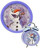 2 TLG. Set _ Wanduhr & Wecker -  Disney die Eiskönigin - Frozen / Schneemann Olaf  - 25 cm groß - sehr leise ! - Uhr - Analog - Kinderwecker - Wohnzimmer & ..
