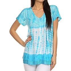 Sakkas Violeta Blusa de teñido anudado con acentos de lentejuelas-azul cielo-OS