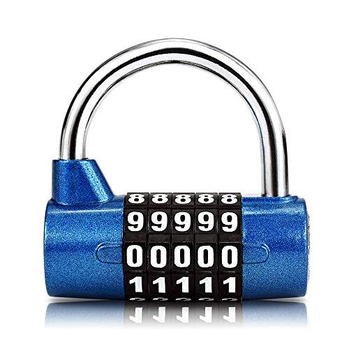 Surplex Cerradura de la Combinación de Seguridad Candado de 5 Dígitos, Juego de Candado Impermeable...