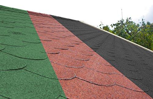 Dachschindeln Biberschwanz 3 m² mit Glasvlieseinlage Bitumenschindeln Schindeln (Grün (Biberschwanz))
