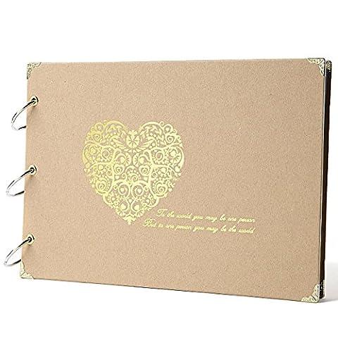 Fotoalbum DIY Scrapbook 10 Zoll 30 Seiten Spiralalbum Jahrestag Geburtstaggeschenk für Hochzeit Baby Reise (Gold Herzchen)