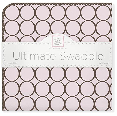SwaddleDesigns Ultimatives Pucktuch, Premium Baumwollflannell, Poppige braune Kreise mit Pastell, Pastellrosa
