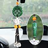 Jade Pendant Slience Mask in vetro con nappa Automotive interna di sicurezza e pace Car-Decorazione da appendere a forma di specchietto retrovisore