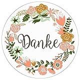 72 DANKE Aufkleber Sticker - Ideal für Geburtstag, Hochzeit, Weihnachten - 3,8 x 3,8 cm - Rosa, Weiß - Blumen