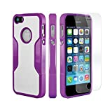 Coque iPhone 5 SE 5s, (Violet) SaharaCase® + [film protecteur ZeroDamage en verre trempé] kit de protection accompagné d'un et d'une protection de saisie antidérapante [antichocs] avec une coupe ajustée